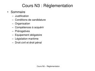Cours N3 : R glementation