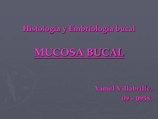 Histolog a y Embriolog a bucal  MUCOSA BUCAL