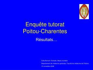 Enqu te tutorat  Poitou-Charentes