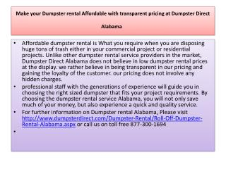 make your dumpster rental affordable with transparent pricin