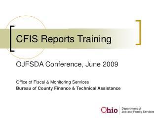 CFIS Reports Training