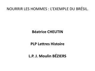 NOURRIR LES HOMMES : L EXEMPLE DU BR SIL.