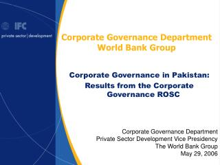 Corporate Governance Department World Bank Group