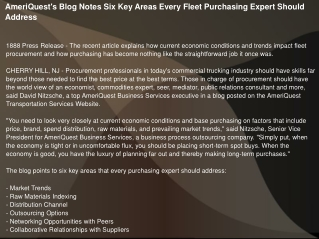 AmeriQuest's Blog Notes Six Key Areas Every Fleet Purchasing