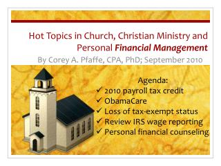 Hot Topics in Church, Christian Ministry and Personal Financial Management
