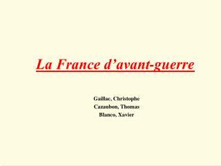 La France d avant-guerre