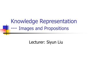 Knowledge Representation --- Images and Propositions