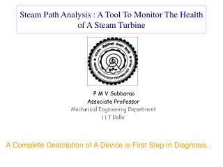 Steam Path Analysis : A Tool To Monitor The Health of A Steam Turbine