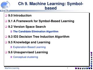 Ch 9. Machine Learning: Symbol-based