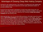 Advantages of Choosing Cheap Web Hosting Company