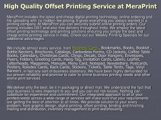 High Quality Offset Printing Service at MeraPrint