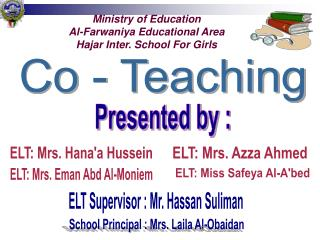 Ministry of Education Al-Farwaniya Educational Area Hajar Inter. School For Girls