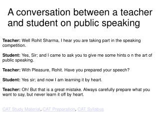 A conversation between a teacher and student on public speak