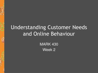 Understanding Customer Needs and Online Behaviour