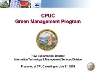 CPUC  Green Management Program