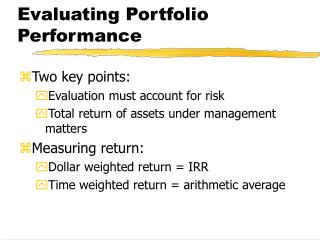 Evaluating Portfolio Performance