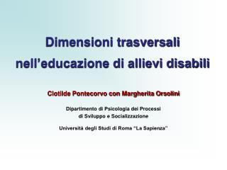 Dimensioni trasversali nell educazione di allievi disabili