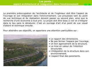 Les ponts :  aspect architectural et int gration dans l environnement