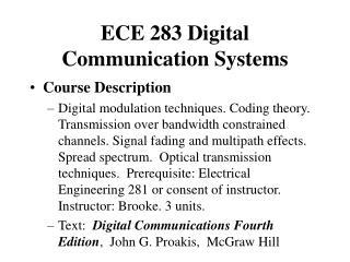 ECE 283 Digital Communication Systems