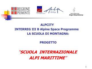 ALPCITY INTERREG III B Alpine Space Programme    LA SCUOLA DI MONTAGNA:     PROGETTO      SCUOLA  INTERNAZIONALE   ALPI