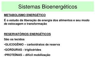 Sistemas Bioenerg ticos