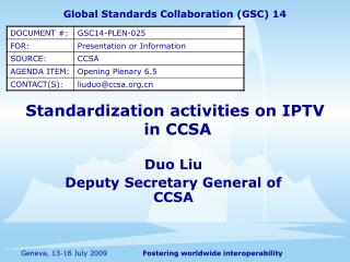 Standardization activities on IPTV  in CCSA