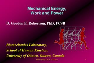 Mechanical Energy, Work and Power