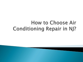 How to Choose Air Conditioning Repair in NJ?