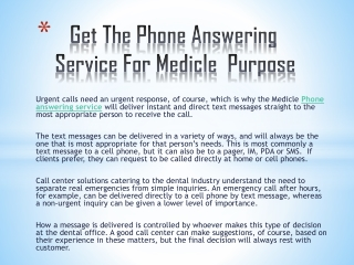 Get The Phone Answering Service For Medicle Purpose
