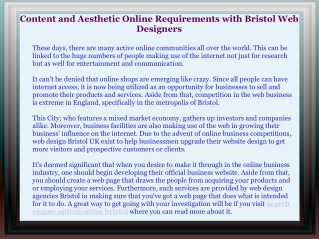 Content and Aesthetic Online Requirements with Bristol Web D