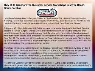 Hwy 55 to Sponsor Free Customer Service Workshops in Myrtle