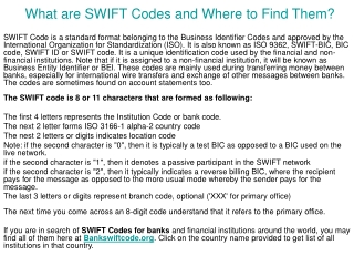 What are SWIFT Codes and Where to Find Them?
