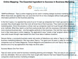 Online Mapping: The Essential Ingredient to Success in Busin
