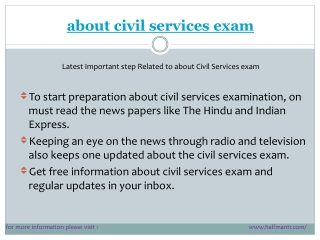 Latest points  about civil services