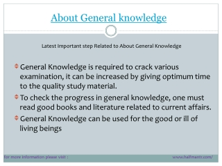Latest point About General  Knowledge