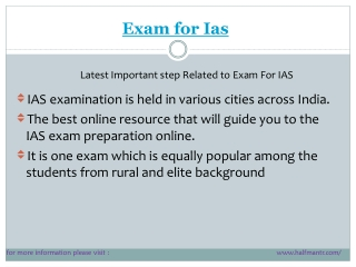LAtest points Exam for ias