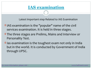 Latest steps for ias examination