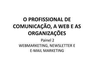 O PROFISSIONAL DE COMUNICA  O, A WEB E AS ORGANIZA  ES  Painel 2 WEBMARKETING, NEWSLETTER E                     E-MAIL M