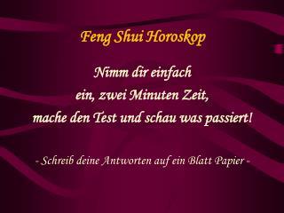 Feng Shui Horoskop