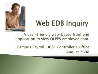 Web EDB Inquiry