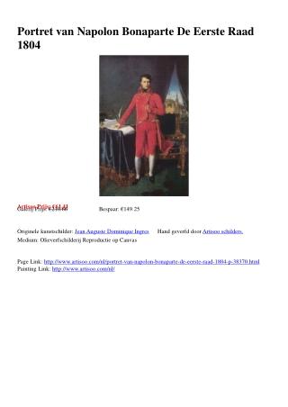 Portret van Napolon Bonaparte De Eerste Raad 1804 - Artisoo.