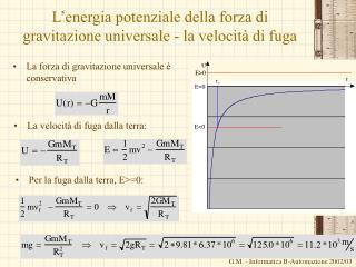 L energia potenziale della forza di gravitazione universale - la velocit  di fuga