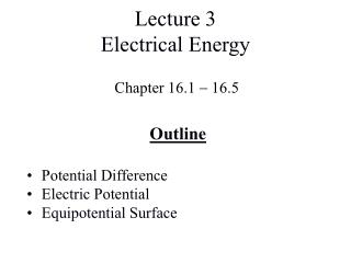 Lecture 3 Electrical Energy