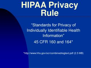 HIPAA Privacy Rule