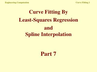 Engineering Computation   Curve Fitting 1
