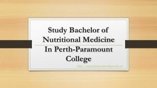 Bachelor of Nutritional Medicine