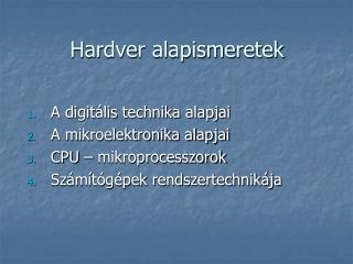 Hardver alapismeretek