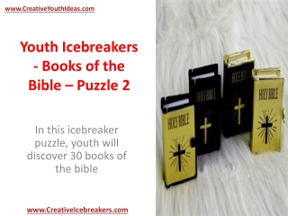 Youth Icebreakers - Books of the Bible