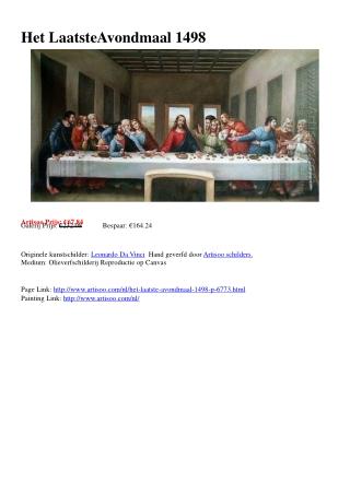 Het Laatste Avondmaal 1498 - Artisoo.com