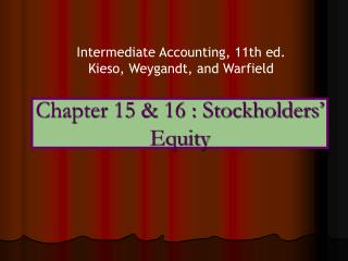 Chapter 15  16 : Stockholders  Equity